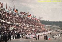 LE MANS Start scene 1965. Ford GT40s , Ferrari 250LMs etc. colour photo